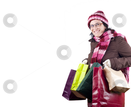 Shopping woman stock photo, Girl with bags in a shopping day by Ivan Montero