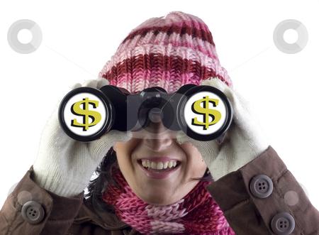 Binocular money vision stock photo, Woman holding and looking through binoculars by Ivan Montero