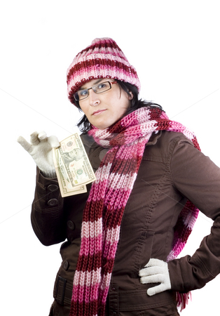 Girl holding money stock photo, Adult woman holding a two 10 dollar notes by Ivan Montero