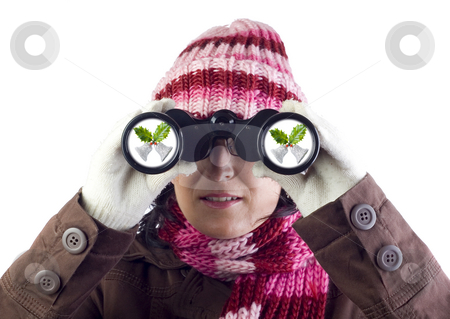 Christmas girl stock photo, Christmas woman holding and looking through binoculars by Ivan Montero