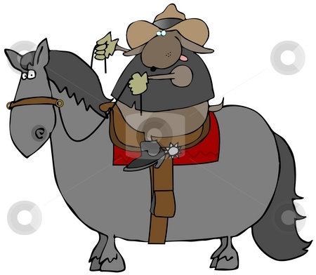 Dog Riding A Horse stock photo, This illustration depicts a dog in western wear riding a horse. by Dennis Cox