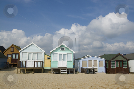 Beach Huts at Hengistbury Head stock photo, Beach huts at Hengistbury Head,Dorset. These simple huts on a sandy peninsula on th south coast of England change hads for tens of thousands of pounds by Chris Pole
