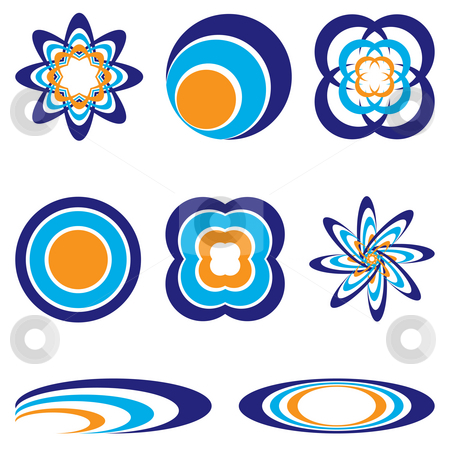 Circular logo stock photo, Collection of eight orange and blue illustrated icons by Michael Travers
