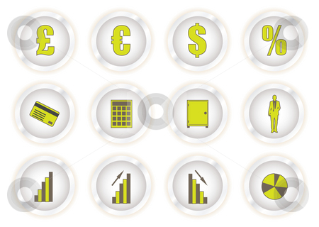 Green glow buttons financial stock photo, Collection of eight buttons with financial symbols and icons by Michael Travers