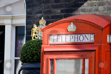 Red Telephone Booth in London stock photo, Close up of a typical English telephone booth by Lee Torrens