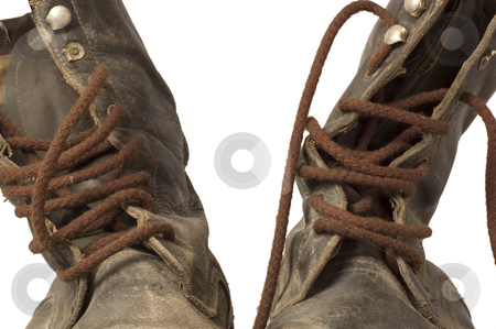 Old Leather Boots - Close Up stock photo, Close-up of a pair of old leather boots, well worn, dirty, and isolated on white by Lee Torrens