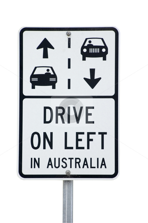 Sign reminding tourist to Drive on the left in Australia stock photo, Tourists arriving in Australia to drive the Great Ocean Road are reminded by signs that in Australia you drive on the left. by Lee Torrens