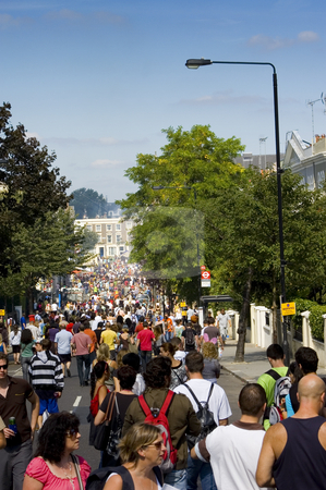 Notting Hill Carnival stock photo, People walking towards the Notting Hill Carnival Parade by Lee Torrens