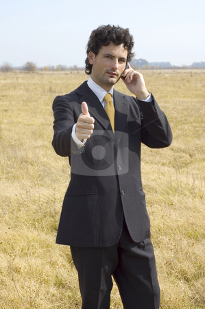 Business man with thumbs up stock photo, A young businessman on a phone call in a dry field gives the thumbs up. by Lee Torrens