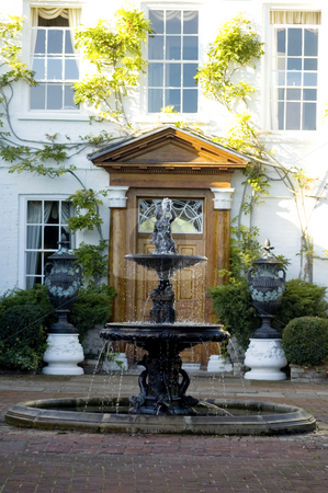 Fancy Entrance stock photo, Stylish fountain at the entrance of an English house by Lee Torrens