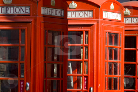 London's Red Telephone Booths stock photo, Close up of the typical English telephone booths by Lee Torrens