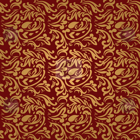 Floral maroon stock photo, Gothic style maroon and gold background that seamless repeat by Michael Travers