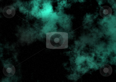 Stella jade stock photo, Space background image with jade clouds drifting across the sky by Michael Travers