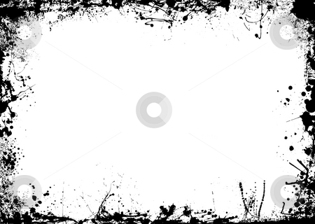 Ink splat border mono stock photo, Ink splat illustrated background with room to add copy by Michael Travers