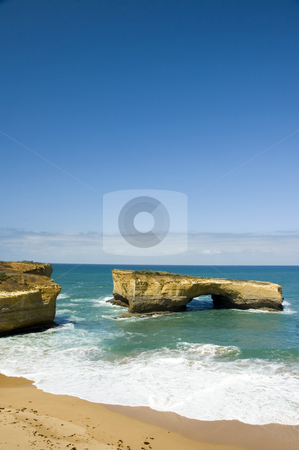 London Arch - Victoria, Australia stock photo, Tourist attraction, The London Arch, located along the Great Ocean Road in Australia. It was formally known as the London Bridge before the collapse of the land portion. by Lee Torrens