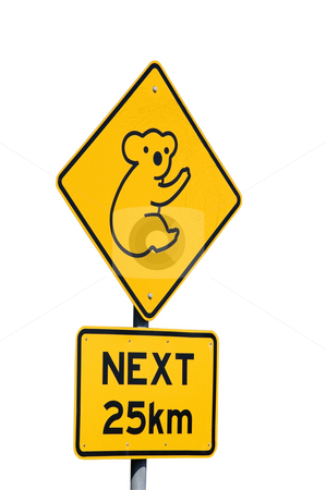 Koalas Next 25km - Australian Sign stock photo, Isolated roadside sign warns motorists of the presence of Koalas by Lee Torrens