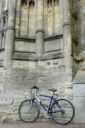 Lonely Bike stock photo, Bike Parked Against Ancient Wall by Lee Torrens