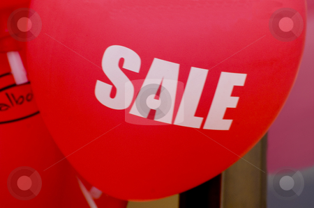 Sale Sign stock photo, Red balloons with the