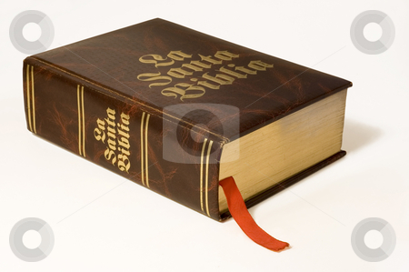 Spanish Bible isolated stock photo, A large Bible in Spanish language, isolated by Lee Torrens