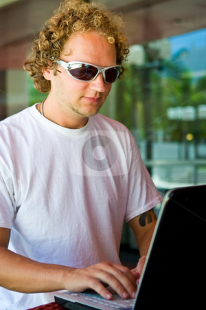 Computer chating anywhere stock photo,  by Jose Wilson Araujo