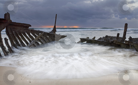 Nautical Skeleton stock photo, The shipwreck of the SS Dicky on Dicky Beach near Caloundra by Mike Dawson