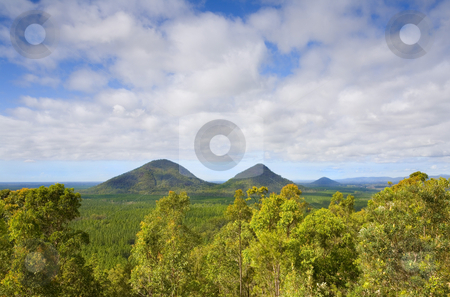 The Twins stock photo, A view looking back over The Twins or Tunbubudla from the Glasshouse Mountains National Park in Queensland by Mike Dawson