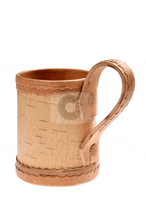 Mug for beer stock photo, Mug from cortex of the handmade birch on white background by Vadim Maier