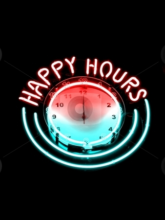 Almost midnight stock photo, Happy hours clock in at nightbar by Laurent Dambies