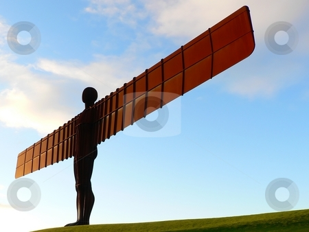 Angel of the North Landmark of Gateshead Newcastle stock photo, Angel of the North Landmark of Gateshead Newcastle side view by Laurent Dambies