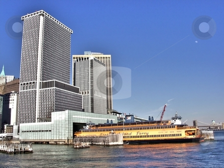 New York Harbor stock photo, New York Harbor with Staten Island ferry by Laurent Dambies