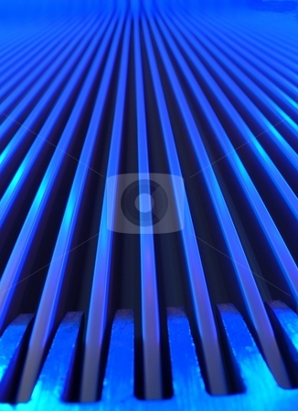 Blue escalator macro stock photo, Close up groundfloor view of a escalator with blue lighting by Laurent Dambies