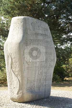 Commemorative Stone for first Scout Camp stock photo, Commemorative Stone for the first scout camp organised by the founder of the Boy Scout movement Lord Robert Baden Powell on Brownsea Island,Dorset,England in August 1907.  EDITORIAL USE ONLY by Chris Pole