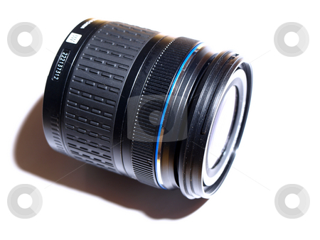 Camera lens stock photo, Digital camera lens macro on white by Laurent Dambies
