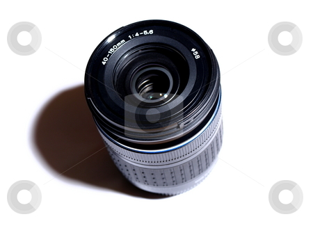 Camera lens stock photo, Digital camera lens macro on white from the top by Laurent Dambies