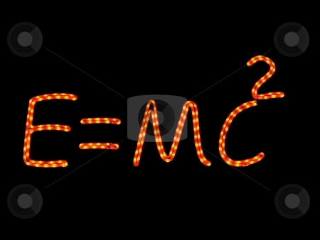 Science neon physics stock photo, Science neon quoting einstein equation by Laurent Dambies