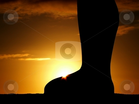 Sunset on steel foot stock photo, Silhouette of the Angel of the North at sunset by Laurent Dambies