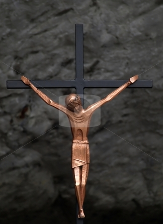 Jesus christ crucifix stock photo, Jesus christ crucifix in the grotto of Massabielle in   Lourdes by Laurent Dambies