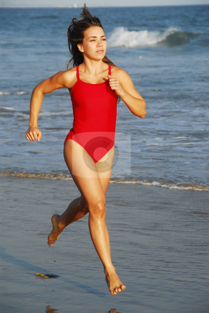 Young Lady at the Beach stock photo,  by Timothy OLeary