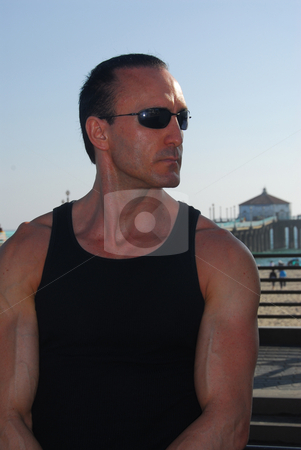 Strong Man at the beach stock photo, Strong man at the beach in Southern California by Timothy OLeary