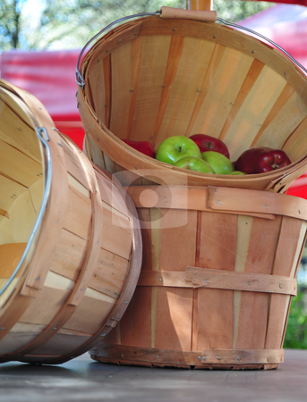 Apples And Bushel Baskets stock photo, Fresh Picked apples in a bushel basket by Lynn Bendickson