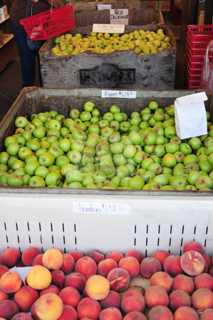 Farmers Market Fruit stock photo, Fresh fruit on display at a farmers market, peaches and different kinds of apples. by Lynn Bendickson