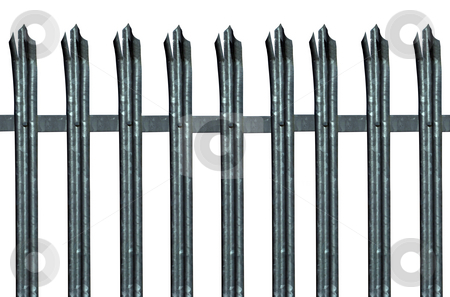 Security stock photo, Pointed metal security fencing for industrial units. Isolated on white by Paul Phillips
