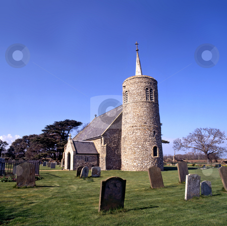 Round Tower stock photo, Round tower churches of Norfolk, UK by Paul Phillips
