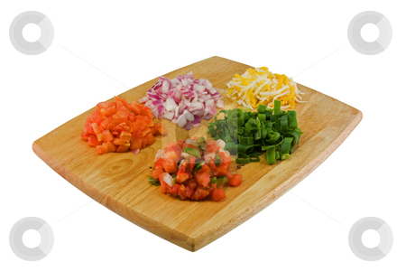 Mexican ingredients  stock photo, Fresh, chopped ingredients on a cutting board on white by Lee Barnwell