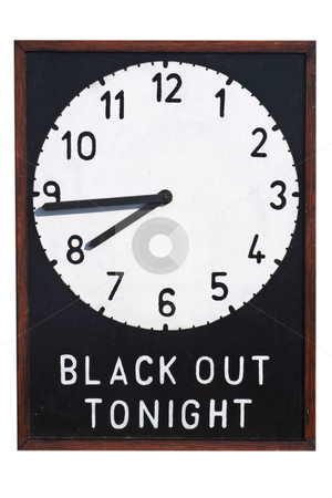Clock saying black out tonight stock photo, A Second World War sign giving details of the time of the Black Out during which time no light should be shown outside of buildings by Paul Phillips