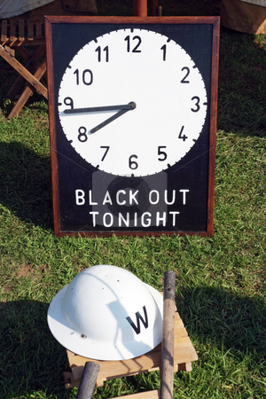 Blackout stock photo, Black Out sign from the Second World War outside a wardens tent by Paul Phillips