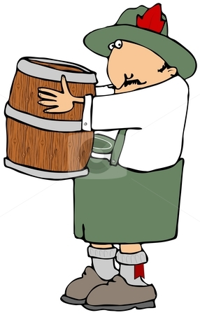 Beer Barrel Man stock photo, This illustration depicts a man dressed in traditional Bavarian clothing carrying a wooden beer keg. by Dennis Cox