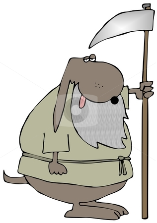 Old Dog stock photo, This illustration depicts an old dog with a beard and carrying a sickle. by Dennis Cox
