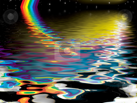 Rainbow reflect stock photo, Dream like image reflected into water at night by Michael Travers