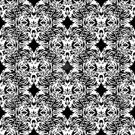 Pen and ink floral stock photo, White and black pen and ink floral design ideal background by Michael Travers